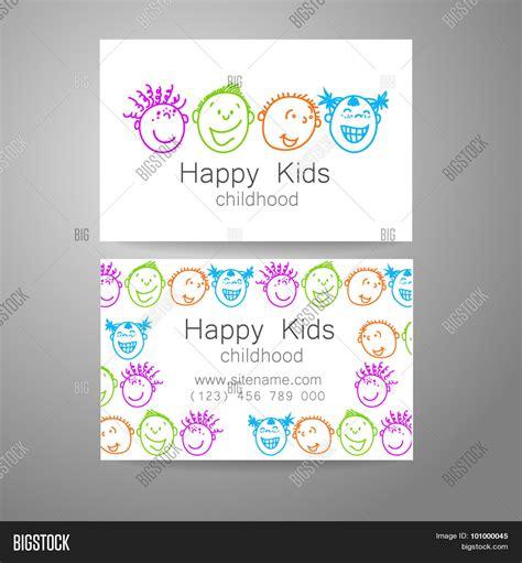 business card templates kindergarten happy children logo template design sign for school