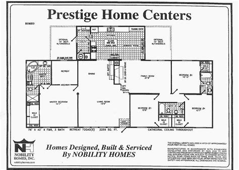 Floor Plans For Manufactured Homes by Romeo 4 Bedrooms With Den And Parents Retreat Triplewide 2259 Square Feet Prestige Home
