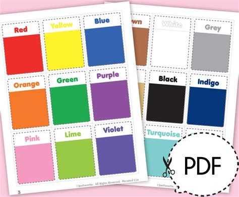 cards color color and shape flash cards printable pdf