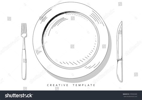 knife and cutlery set sketch cutlery plate fork knife stock vector 379930309