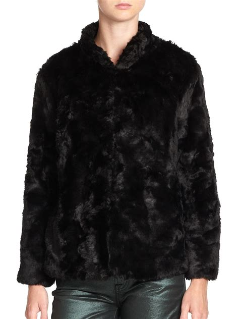 Cropped Fur Jackets by 7 For All Mankind Faux Fur Cropped Jacket In Black Lyst