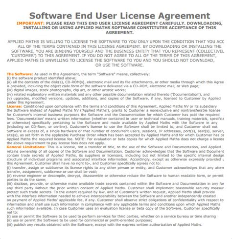8 Sle License Agreements Pdf Doc Sle Templates End User License Agreement Template