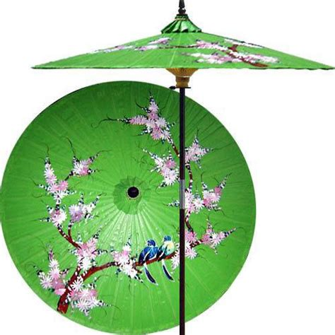 asian patio umbrella song birds meadow green outdoor patio umbrella asian outdoor umbrellas by decor
