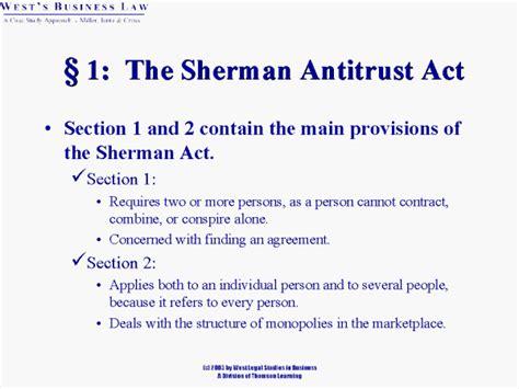 sherman antitrust act section 1 167 1 the sherman antitrust act