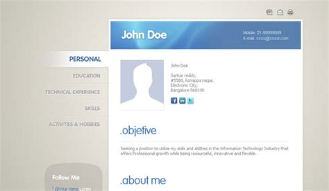 mycard responsive vcard resume html template 50 professional html resume templates web graphic