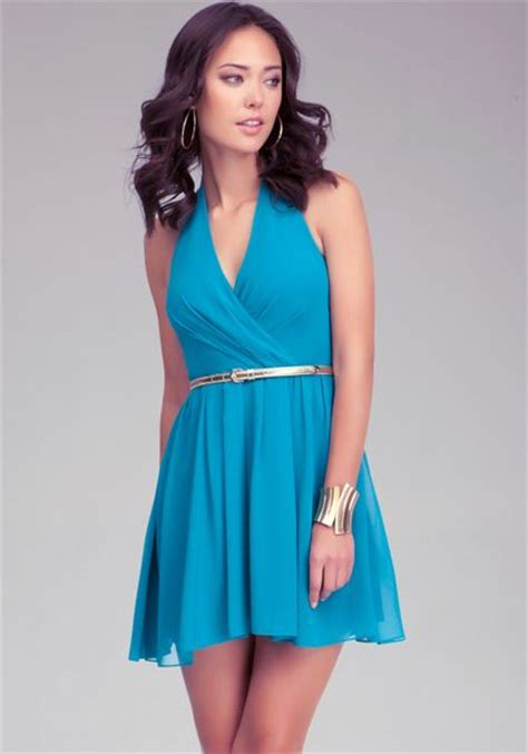 Sale Dress Bebe Halter 1 bebe v neck belted halter dress in blue sea lyst