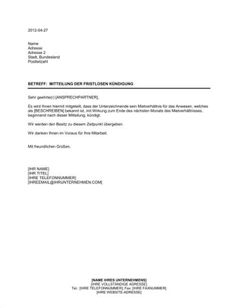 Mit Freundlichen Grüßen Ihr Vermieter Mitteilung Der Fristlosen K 252 Ndigung Des Mietverh 228 Ltnisses Durch Den Mieter Vorlagen Und Muster