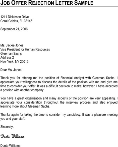 Agreement Rejection Letter by Offer Rejection Letter Sle For Free