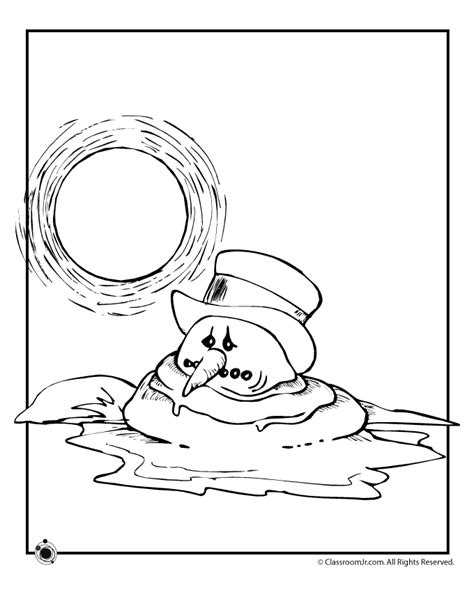 melting snowman coloring page weather coloring pages for kids coloring home