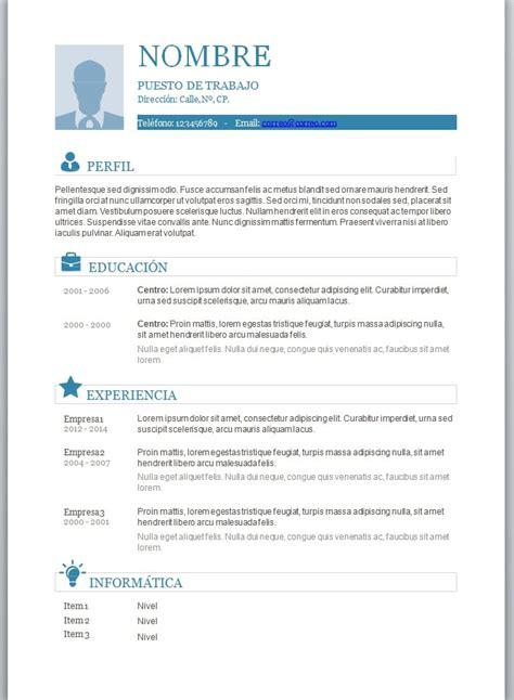 Modele Cv En Word by Modelos De Curriculum Vitae En Word Para Completar