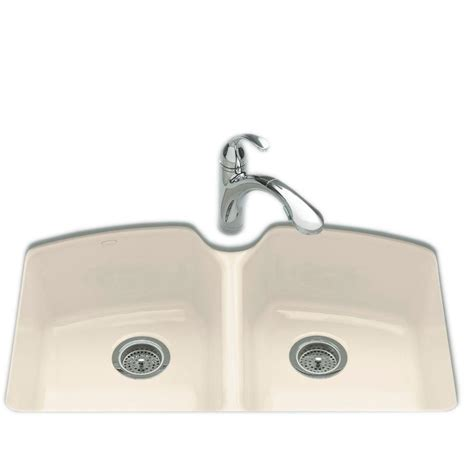 3 Bowl Kitchen Sink Undermount Kohler Tanager Undermount Cast Iron 33 In 3 Bowl Kitchen Sink In Almond K 6491 3u