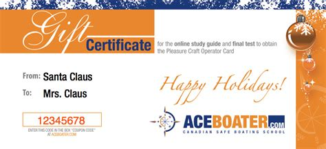 coupon code for pa boating license a gift certificate for the pleasure craft operator card