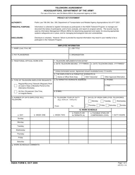 Telework Agreement Template by Da Form Hqda6 Telework Agreement Headquarters