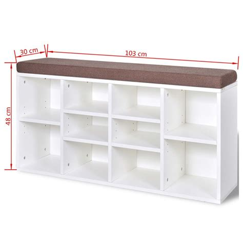 shoe storage bench white shoe storage bench 10 compartments white vidaxl com