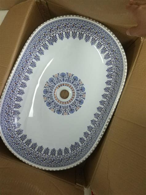 moroccan hand painted blue circular round sink wash basin