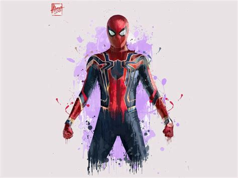 Desktop wallpaper spiderman, minimal, avengers: infinity