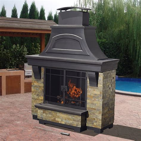 Sunjoy Fireplace by Sunjoy Nutmeg Wood Burning Fireplace Outdoor Living