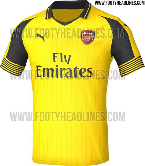 arsenal yellow kit leaked arsenal s new 2016 17 away kit is very yellow
