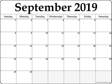 september 2019 calendar september 2019 free printable blank calendar collection