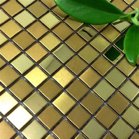 gold metal mosaic tile backsplash smmt034 square stainless