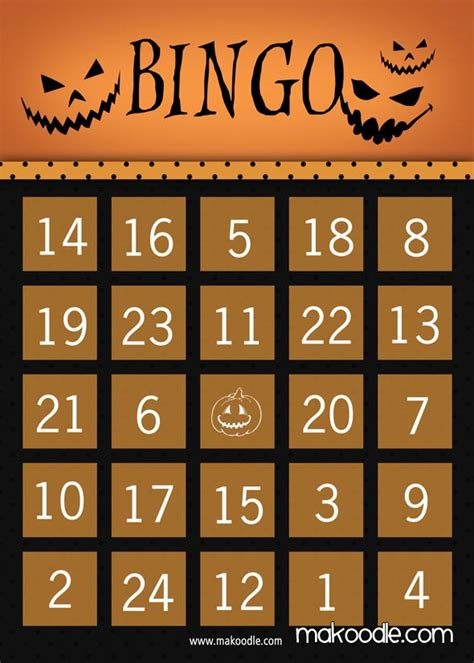 printable halloween bingo cards with pictures free printable halloween bingo makoodle