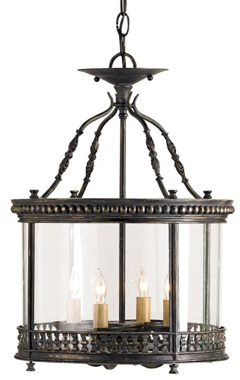 Currey Company Dusklight Ceiling Mount Currey And Company 9045 Black Vintage Glass Grayson 4 Light Ceiling Lantern With
