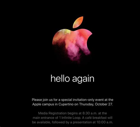 Hello Again by Hello Again Apple Confirms October 27 Event New Macs