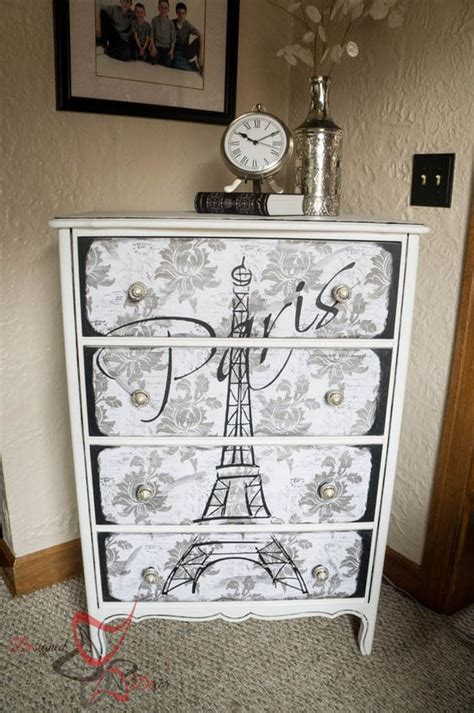 Vintage Decoupage Furniture - eiffel tower dresser decoupage maison blanche vintage