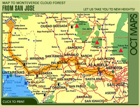 san jose dlpc directions map to monteverde from san jose