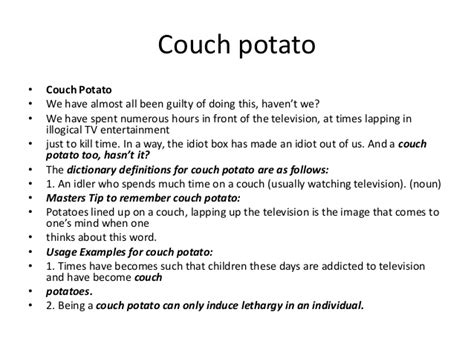 another word for couch potato powerful vocabulary