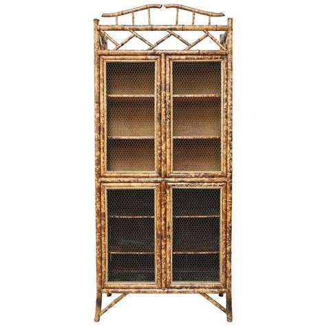Bamboo Cabinet Doors Antique Bamboo Cabinet With Chicken Wire Doors For Sale At 1stdibs