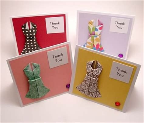 Origami Card Ideas - origami card to make dress design with