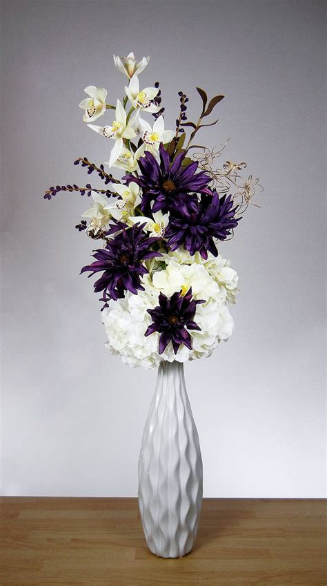 New Tall Purple and White Orchid Flower Silk Floral