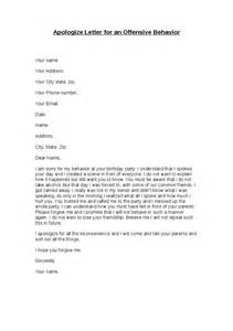 Apology Letter Of Behavior Apologize Letter For An Offensive Behavior Hashdoc