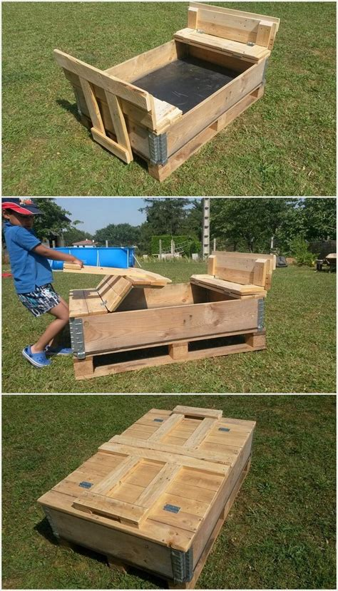 pallet pit foldable sand pit made out of wooden pallets pallet wood projects