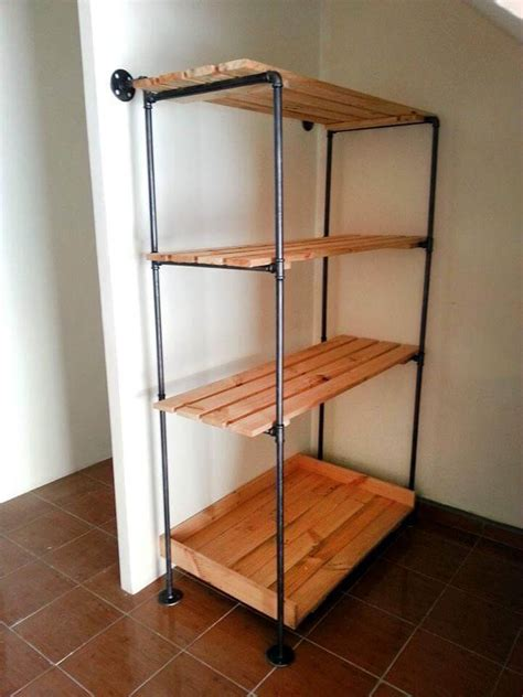 Pipe Bookcase Diy Pallet And Metal Pipe Storage Rack Bookcase