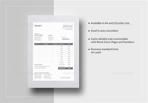 Mac Pages Sales Receipt Template by Printable Receipt Template In Word Excel Apple Pages