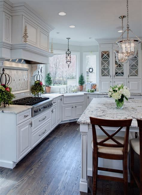 dallas white granite kitchen traditional  integrated range hood trestle standard height