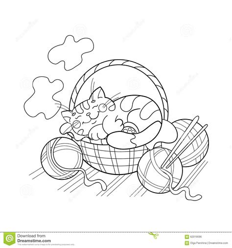 sleeping kitten coloring page 12 images of cat in basket coloring page kitten coloring