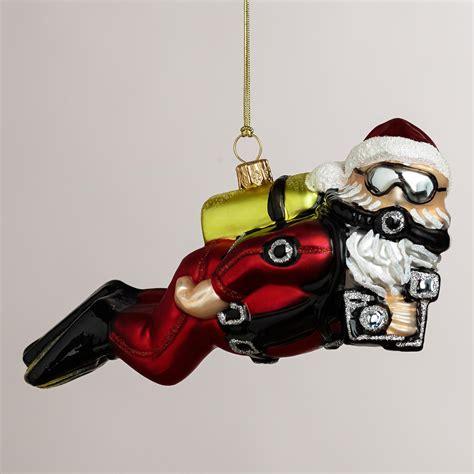 european glass scuba diving santa ornament world market