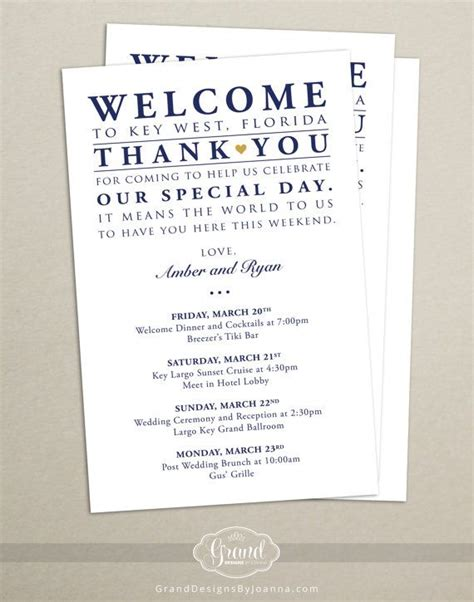 Itinerary Cards for Wedding Hotel Welcome Bag   Printed