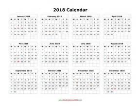 Calendar 2018 One Page 2018 Calendar Printable One Page Free Calendar 2017