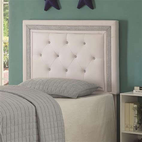 white tufted headboard twin coaster andenne tufted twin panel headboard in white 300545t