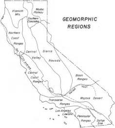 california geomorphic regions map color handout page map