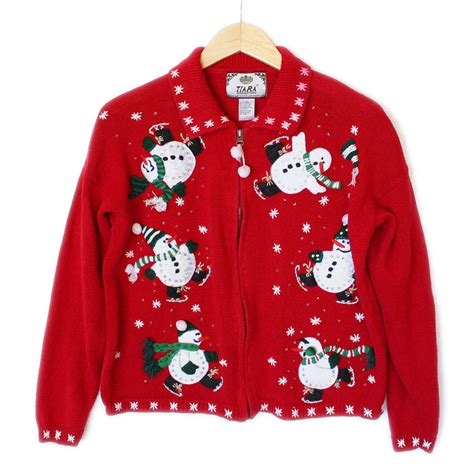 ice skating snowmen tacky ugly christmas sweater the