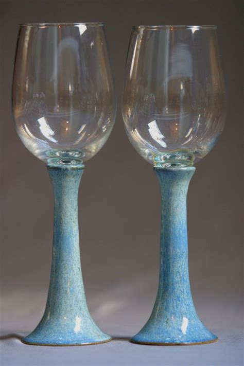Handcrafted Wine Glasses - handcrafted pottery wine glasses set goblets glazed light