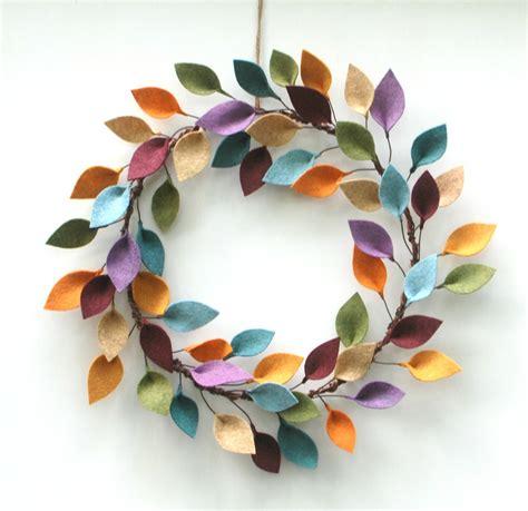felt wreath larger size modern felt leaf wreath year wreath