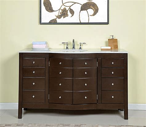 60 Inch Single Sink Bathroom Vanity In Dark Walnut 60 Inch Single Sink Bathroom Vanity