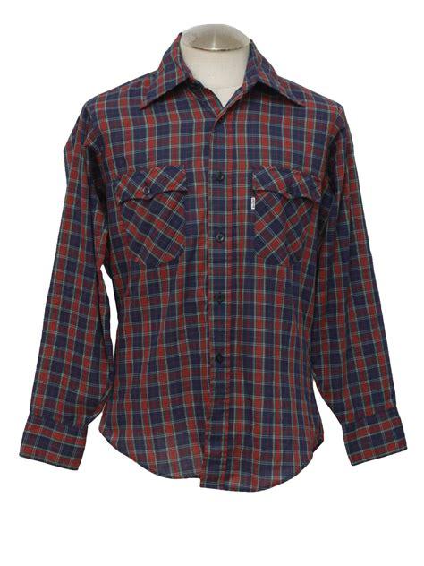 pattern western shirt 1970 s western shirt levis 70s levis mens navy blue