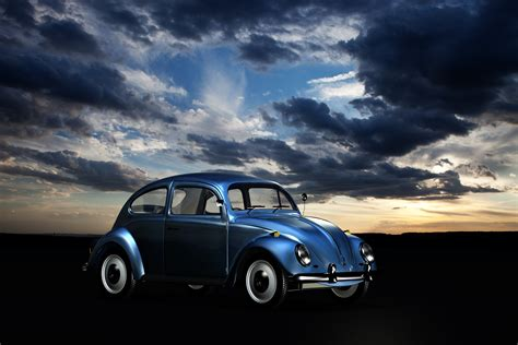 Volkswagen Autos by Blue Volkswagen Beetle Blue Sky And White Clouds